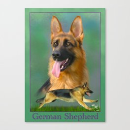 German Shepherd Breed Art with Name Plate Canvas Print