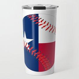 Texas Flag Baseball Travel Mug