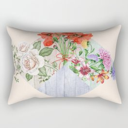 Floral Blocks Rectangular Pillow