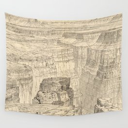 Vintage Pictorial Map of The Grand Canyon (1895) Wall Tapestry