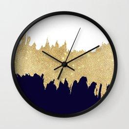 Modern navy blue white faux gold glitter brushstrokes Wall Clock