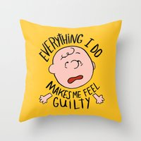 charlie brown Throw Pillows featuring CHARLIE BROWN by Josh LaFayette