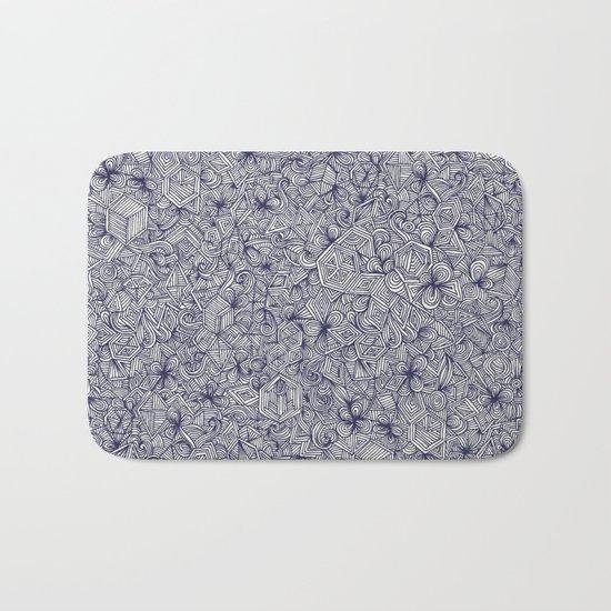 Held Together - a pattern of navy blue doodles Bath Mat