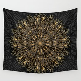 MANDALA IN BLACK AND GOLD Wall Tapestry