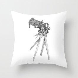 Scissorhands(BW-R) Throw Pillow
