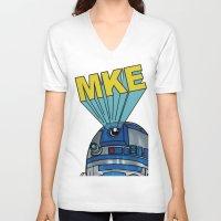milwaukee V-neck T-shirts featuring Milwaukee: R2D2 MKE by Amanda Iglinski
