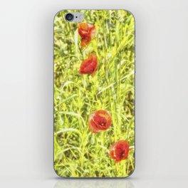 Poppy Watercolour Art iPhone Skin