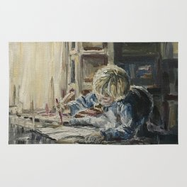 Young artist Print Original Oil Painting On Canvas Cozy Home Rug