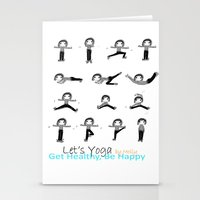 yoga Stationery Cards featuring yoga by Indraart