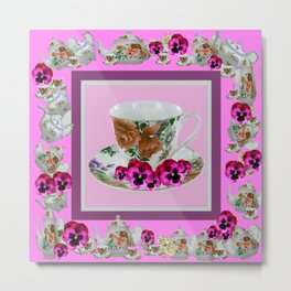 CERISE PANSY FLOWERS ANTIQUE TEA POTS & CUPS Metal Print