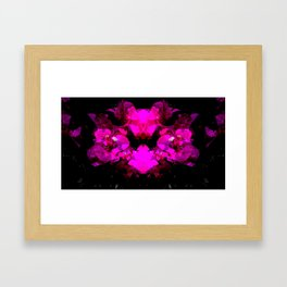 Abstract neon bougainvilleas on black Framed Art Print