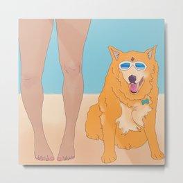 Corky le dog, Huntington Beach Metal Print