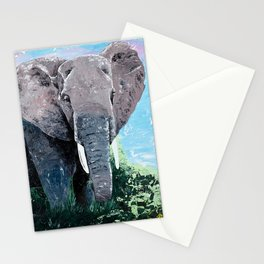 Animal - The big elephant - by LiliFlore Stationery Cards