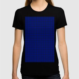 Cobalt Blue and Black Houndstooth Check Pattern T-shirt