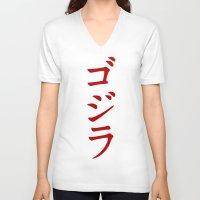 godzilla V-neck T-shirts featuring Godzilla by Spyck