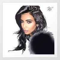 kardashian Art Prints featuring KIM KARDASHIAN by The Lanky Kid