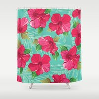 hibiscus Shower Curtains featuring Hibiscus by Julscela