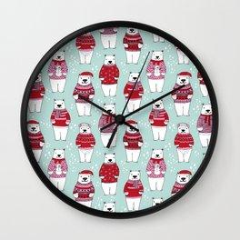Polar Bear character cute christmas sweater polar bears nature illustration pattern Wall Clock