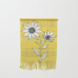 Wildflower line drawing | Botanical Art Wall Hanging