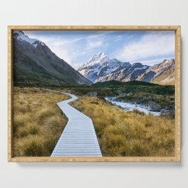 Mt.Cook New Zealand - A hikers dream Serving Tray