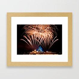 Castle Fireworks Framed Art Print