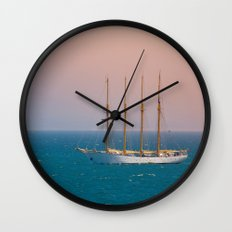 The sun on the sailing ship Wall Clock