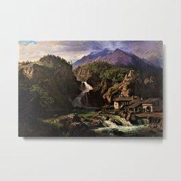 Waterfall in an Italian Mountainous Landscape by Eduard Agricola Metal Print