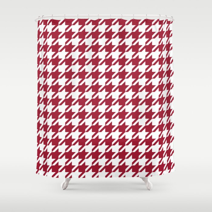 Bama Crimson Tide College State Pattern Print University Of Alabama Varsity Alumni Gifts Houndstooth Shower Curtain