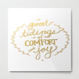 Gold Typography Holiday Christmas Wreath Brushstroke Watercolor Ink Tidings Joy Love Metal Print