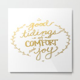 Gold Typography Holiday Christmas Wreath Brushstroke Watercolor Ink Tidings Joy Love Metal Print