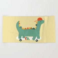 Dinosaur on retro skateboard Beach Towel
