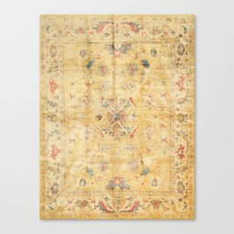 Craft Carpet Century Authentic Colorful Dull Yellow Golden Distressed Vintage Rug Pattern Canvas Print