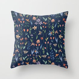 Wildflowers in the Air Navy Throw Pillow