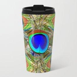 AWESOME BLUE-GREEN PEACOCK FEATHERS ART Travel Mug