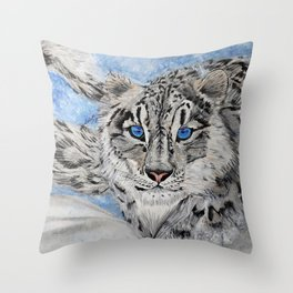Snow Leopard Throw Pillow