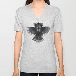 Strange Hummingbird 1.Black on white background. Unisex V-Neck