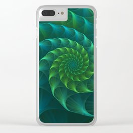 Blue And Green Nautilus Shell Clear iPhone Case