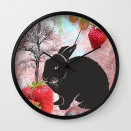 Black Rabbit and Strawberries Wall Clock