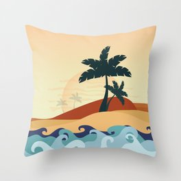 Palm trees on the seaside Throw Pillow