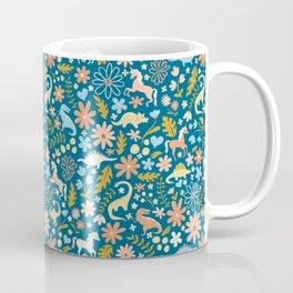 Dinosaurs + Unicorns in Blue + Coral Coffee Mug