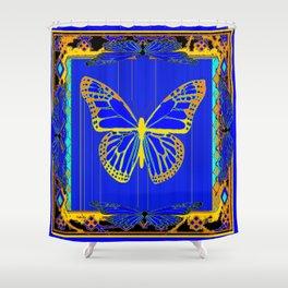 Lapis Blue & Gold Monarch Western Art design Shower Curtain