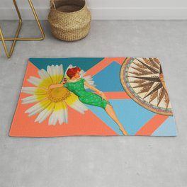 Daisy on the rocks #collage Rug