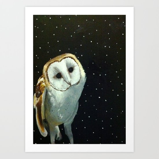 Barn Night Owl Art Print