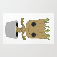 groot Area & Throw Rugs featuring Little Groot by Pete