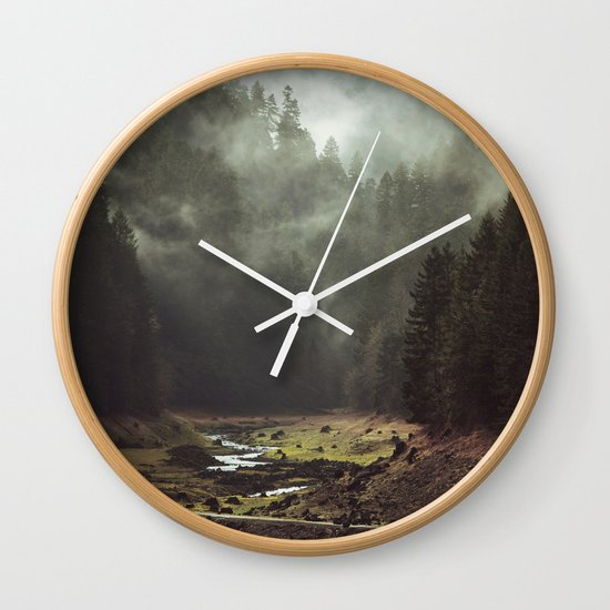 Foggy Forest Creek Wall Clock