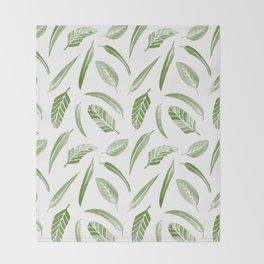 Leaf Pattern - Green Throw Blanket