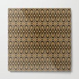 Ikat Teardrops in Brown Metal Print