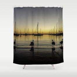 Geese & Sailboats at dawn Shower Curtain