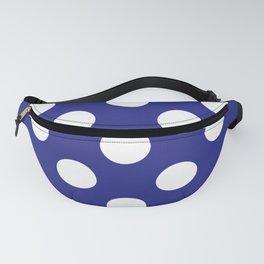 Geometric Candy Dot Circles - White on Navy Blue Fanny Pack