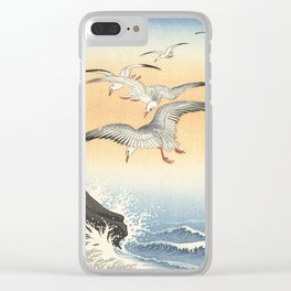 Japanese Seagull Woodblock Print by Ohara Koson Clear iPhone Case